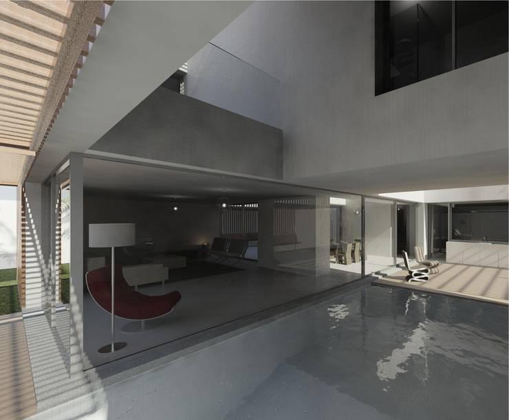 Casa Pátio, em Luanda, Angola: Salas de estar  por Alberto Vinagre, arquitectos, Lda