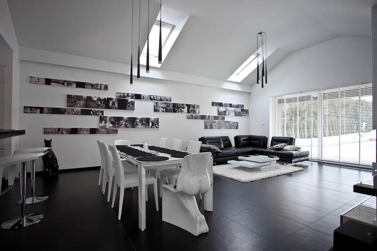 Wnętrza domu jednorodzinnego, Bielsko-Biała: styl , w kategorii Salon zaprojektowany przez modero architekci ,Nowoczesny