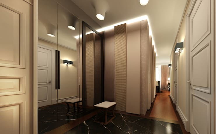 Pasillos y recibidores de estilo  por KOSHKA INTERIORS, Ecléctico
