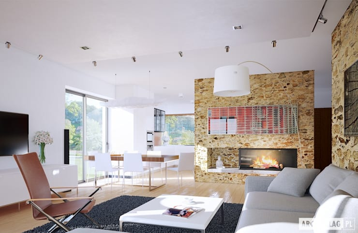 Projekt domu Edgar II G2 ENERGO PLUS: styl , w kategorii Salon zaprojektowany przez Pracownia Projektowa ARCHIPELAG,Nowoczesny