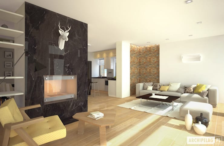 Projekt domu EX 15 : styl , w kategorii Salon zaprojektowany przez Pracownia Projektowa ARCHIPELAG