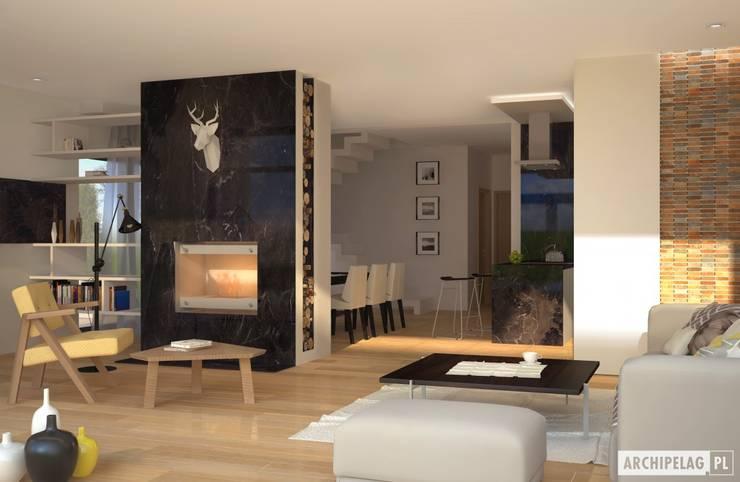 Projekt domu EX 15: styl , w kategorii Salon zaprojektowany przez Pracownia Projektowa ARCHIPELAG