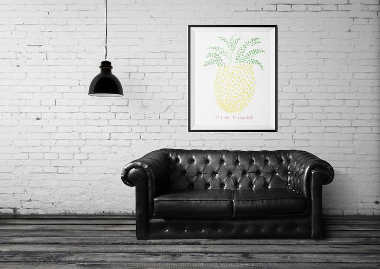 Plakat Ananas: styl , w kategorii Ściany i podłogi zaprojektowany przez 4rooms.com.pl