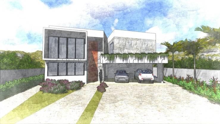 Vista Frontal: Casas  por aei arquitetura e interiores