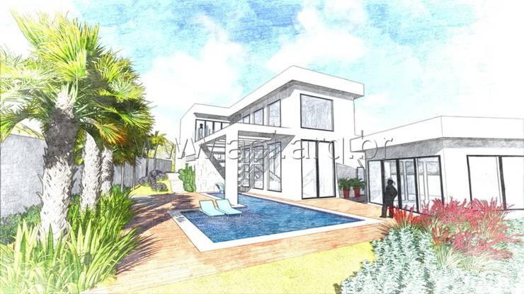 Vista Posterior: Casas  por aei arquitetura e interiores
