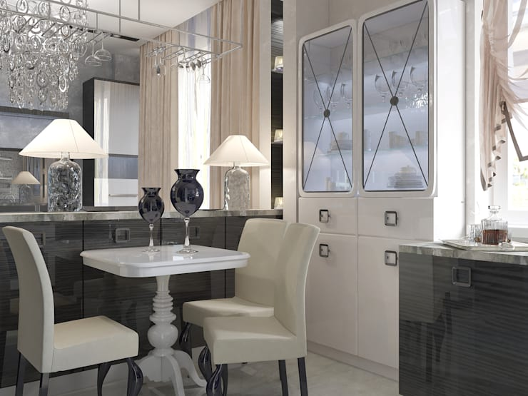 Квартира 75 м2: Столовые комнаты в . Автор – Vera Rybchenko, Классический