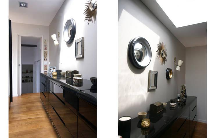 Extension d'une maison à Colombes, 200m² : Couloir et hall d'entrée de style  par ATELIER FB