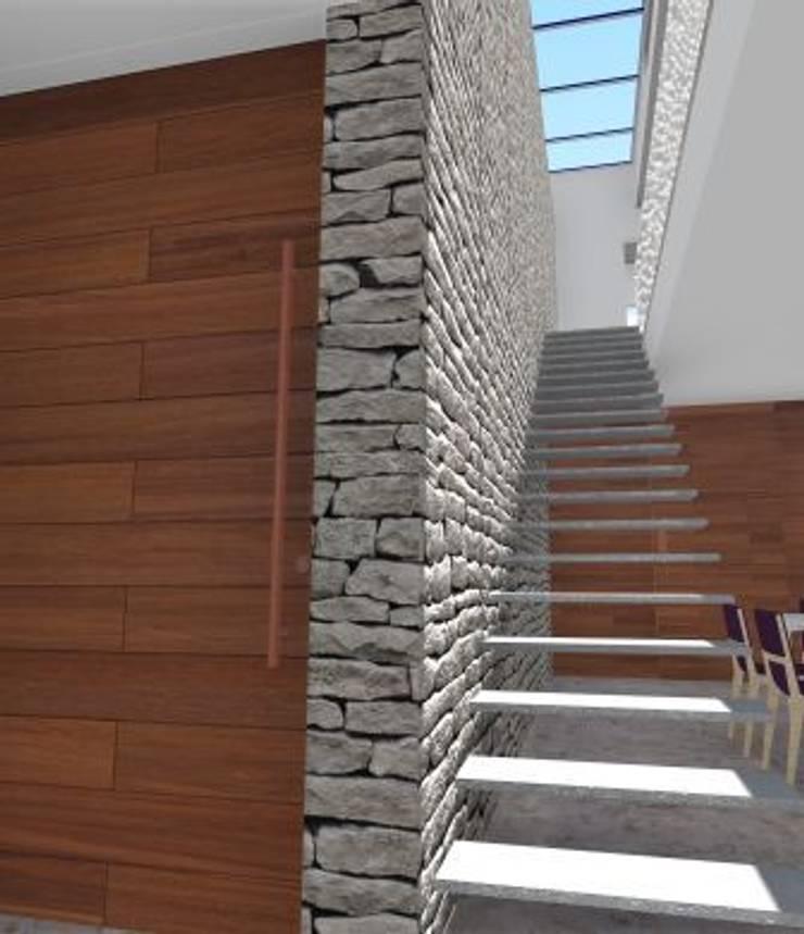 Residência V|T: Corredores e halls de entrada  por Coutinho+Vilela,