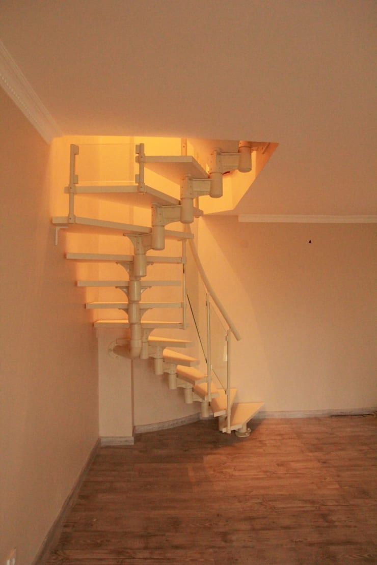 Visal Merdiven – Omurgalı Modüler Merdiven - İstanbul:  tarz Koridor, Hol & Merdivenler