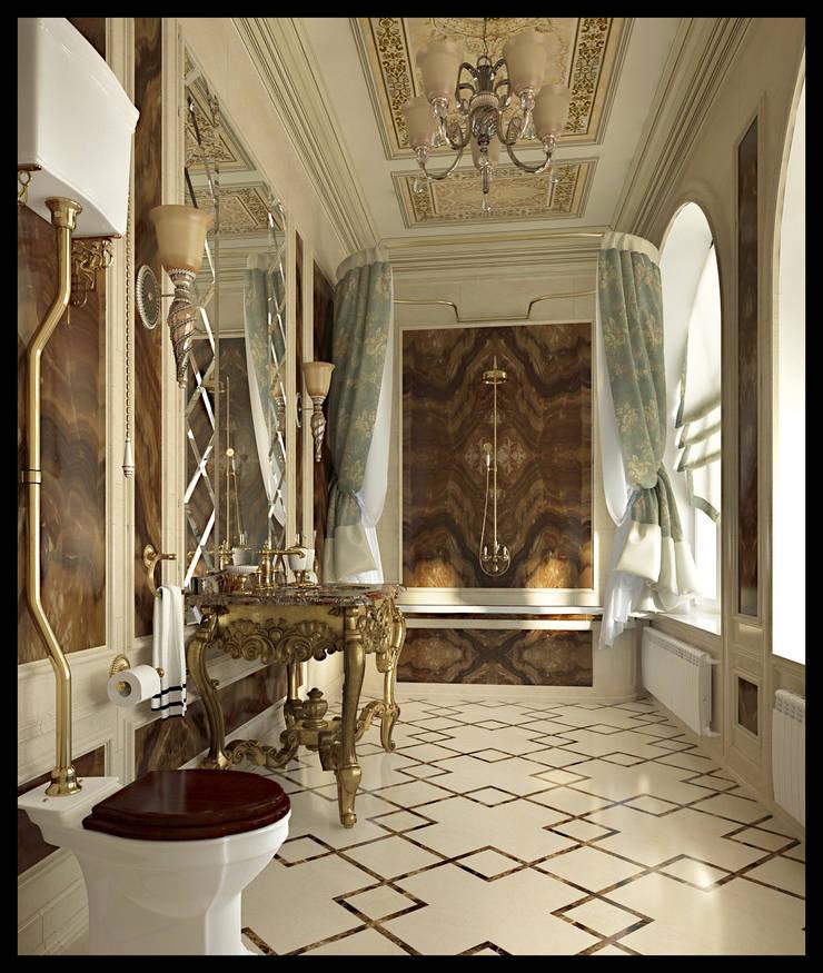 Санузел при мужской спальне: Ванные комнаты в . Автор – Defacto studio, Классический