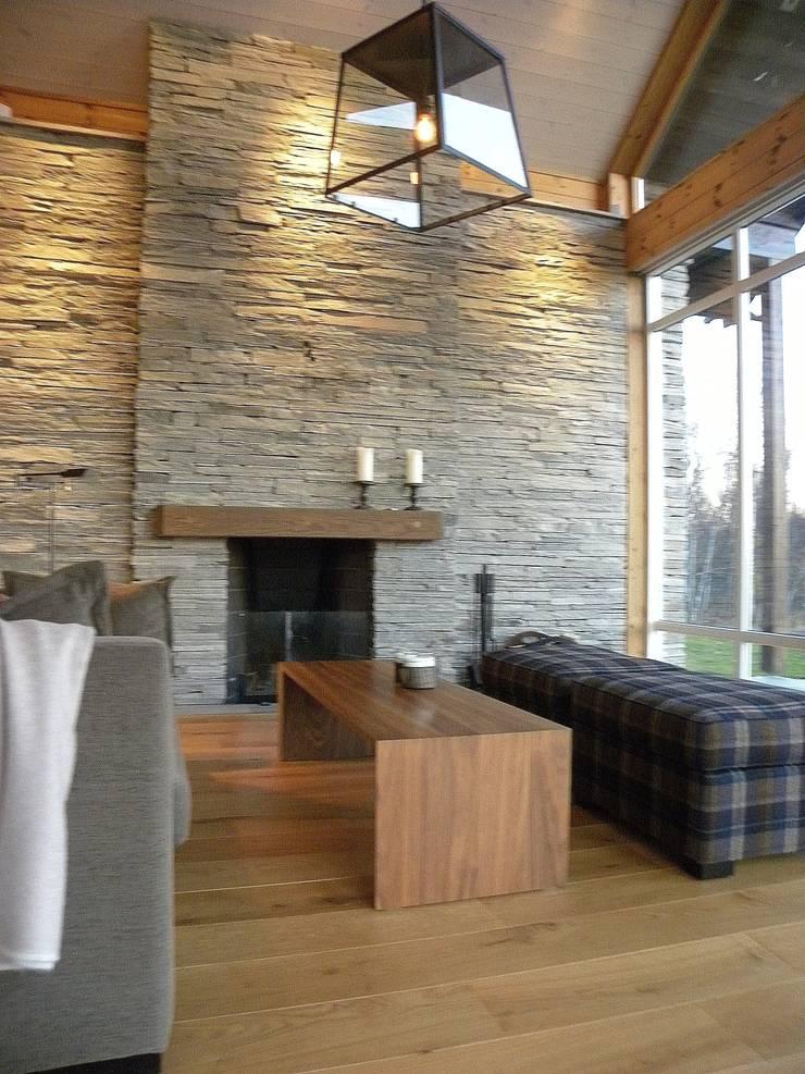 Living Room Salas de estilo rústico de Gullaksen Architects Rústico