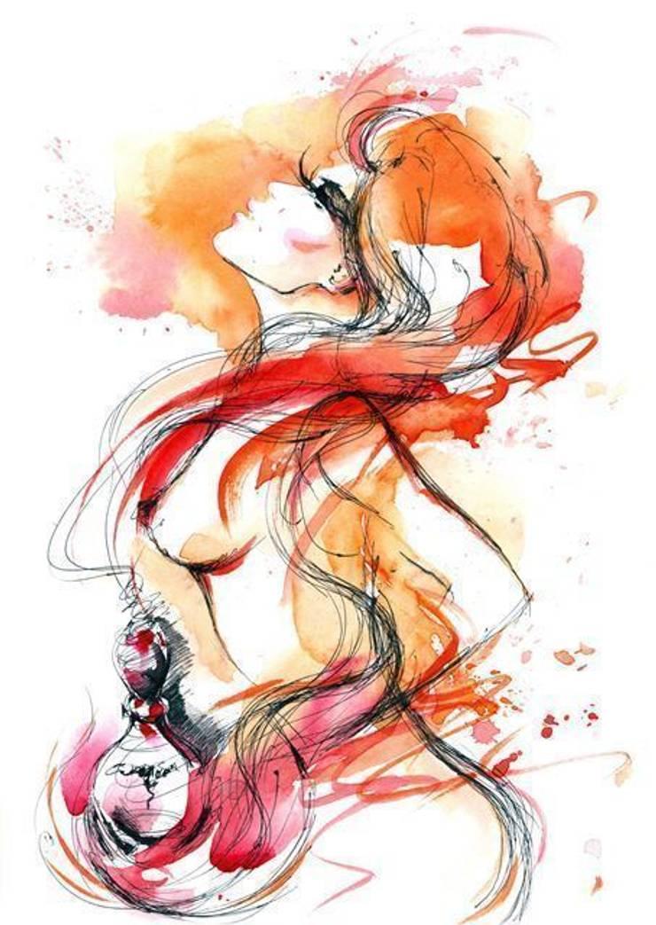 Obraz na płótnie Kobieta z perfumą: styl , w kategorii Ściany i podłogi zaprojektowany przez 4rooms.com.pl