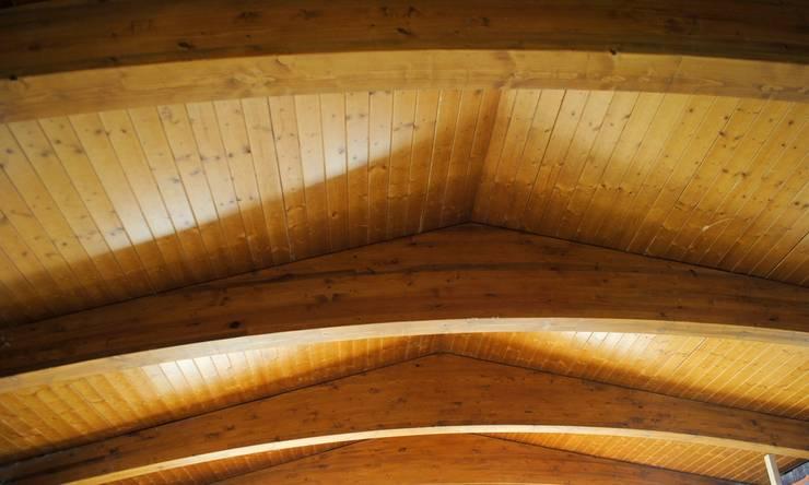 Cubierta de panel sándwich de madera: Salones de estilo  de CUTECMA Estructuras de madera