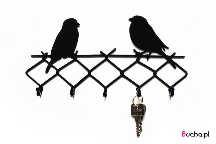 WRÓBLE wieszak na klucze, ściereczki, akcesoria kuchenne: styl , w kategorii Korytarz, hol i schody zaprojektowany przez Bucha