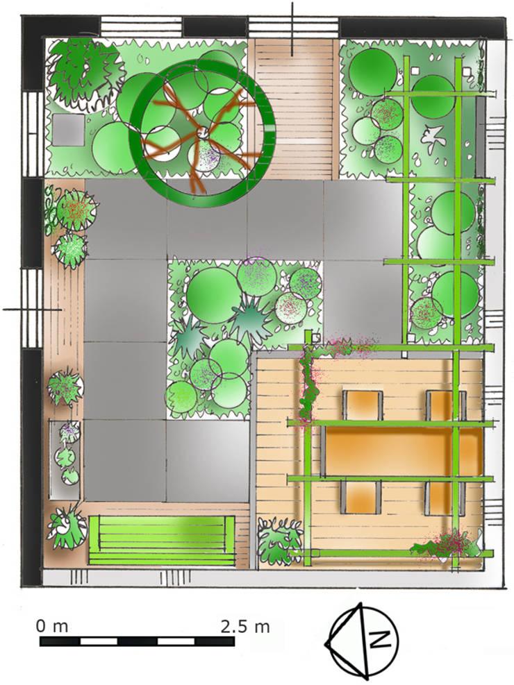 Mini patio tuin Wijk bij Duurstede: modern  door Mocking Hoveniers, Modern