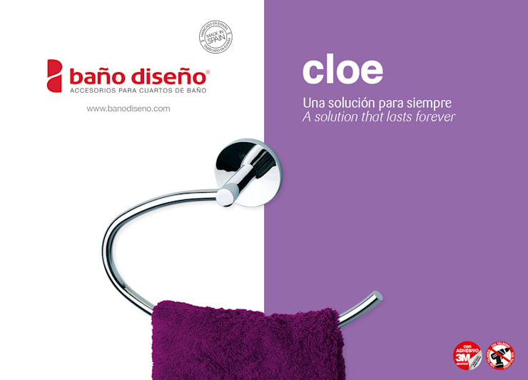 Colección CLOE - accesorios de baño adhesivos - Baño Diseño: Baños de estilo  de Baño Diseño