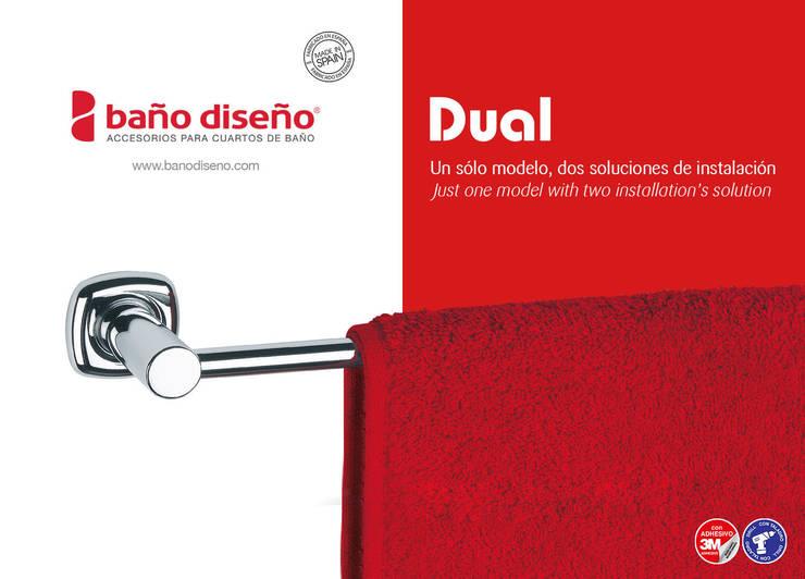 Colección DUAL - accesorios de baño adhesivos y con taladro - Baño Diseño: Baños de estilo  de Baño Diseño