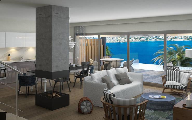 ARTHUR&MILLER – Novo Maison Bodrum:  tarz Oturma Odası, Modern