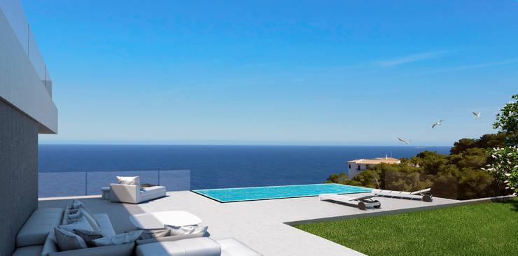 Terraza y piscina: Casas de estilo  de SINGULAR STUDIO
