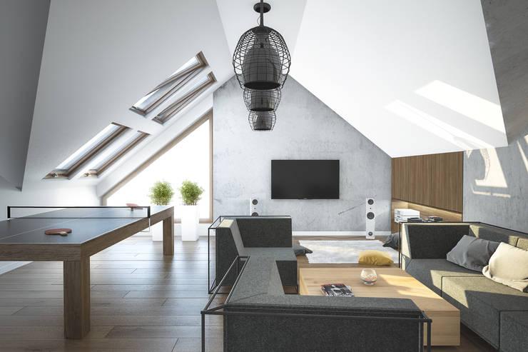 PROJEKT DOMU W LUBLINIE: styl , w kategorii Pokój multimedialny zaprojektowany przez Kunkiewicz Architekci