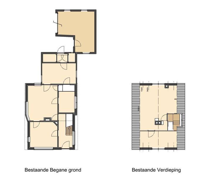 plattegronden oude indeling:   door TTAB (Tjade Timmer Architect & Bouwadvies), Eclectisch