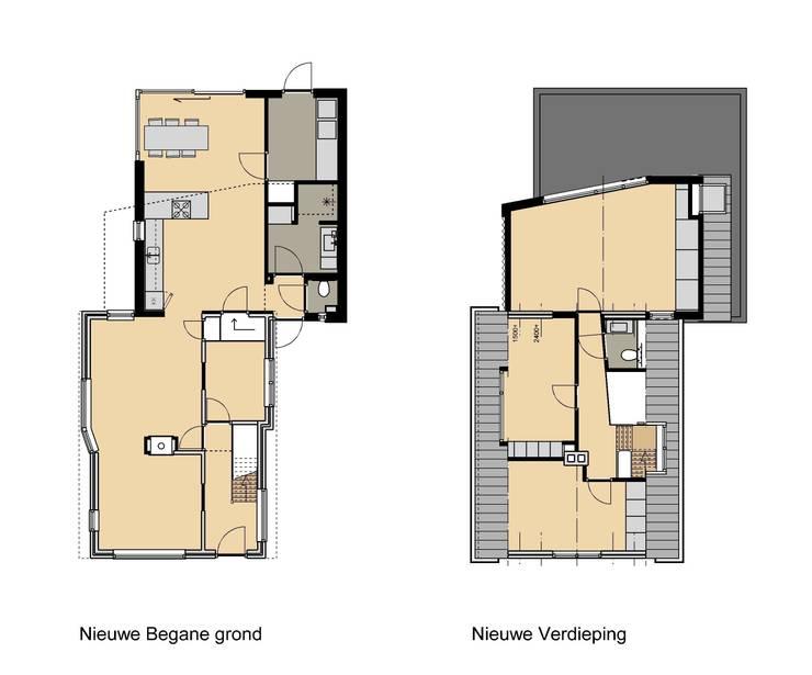 Plattegronden nieuwe indeling:   door TTAB (Tjade Timmer Architect & Bouwadvies), Eclectisch