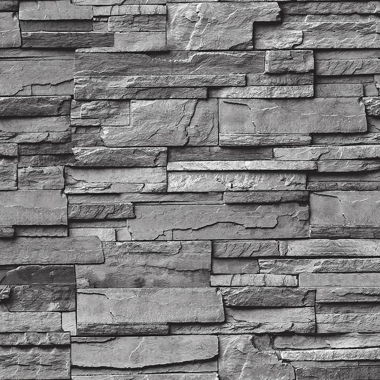 DEKOROS – GRİ TAŞ DESENLİ DUVAR KAĞITLARI:  tarz Duvar & Zemin