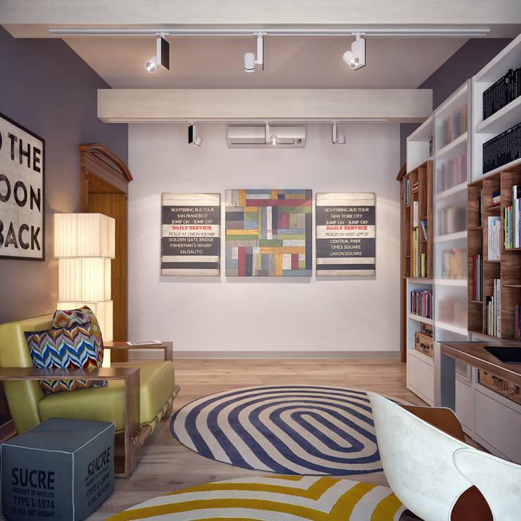 Домашний кабинет в мансардном этаже: Рабочие кабинеты в . Автор – Sweet Home Design