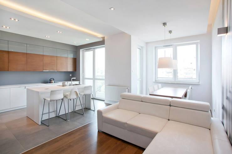 Realizacja projektu mieszkania 70 m2 w Krakowie: styl , w kategorii Salon zaprojektowany przez Lidia Sarad