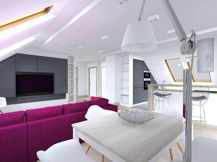 Projekt wnętrza poddasza 60 m2 pod Krakowem : styl , w kategorii Jadalnia zaprojektowany przez Lidia Sarad