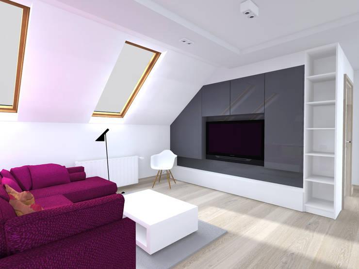Projekt wnętrza poddasza 60 m2 pod Krakowem : styl , w kategorii Salon zaprojektowany przez Lidia Sarad
