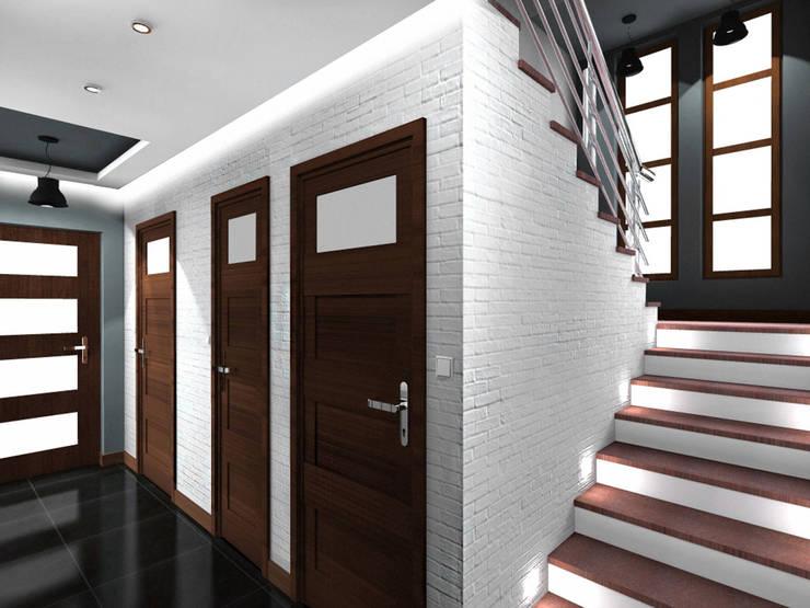 Projekt wnętrza części domu 200 m2 pod Bochnią: styl , w kategorii Korytarz, przedpokój zaprojektowany przez Lidia Sarad