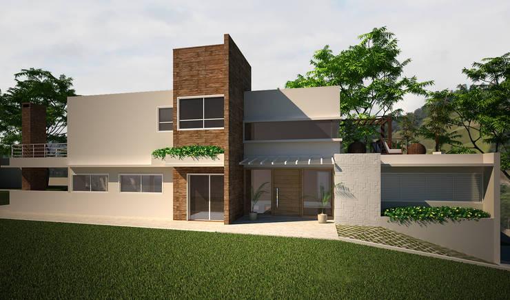 Fachadas lateral: Casas  por Flávia Brandão - arquitetura, interiores e obras,