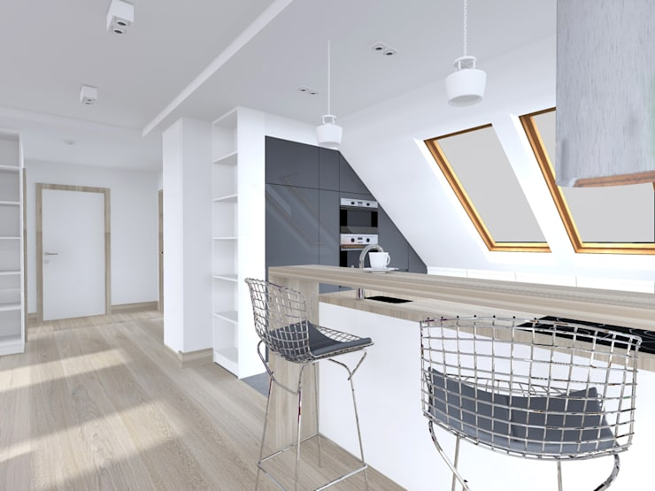 Projekt wnętrza poddasza 60 m2 pod Krakowem : styl , w kategorii Kuchnia zaprojektowany przez Lidia Sarad