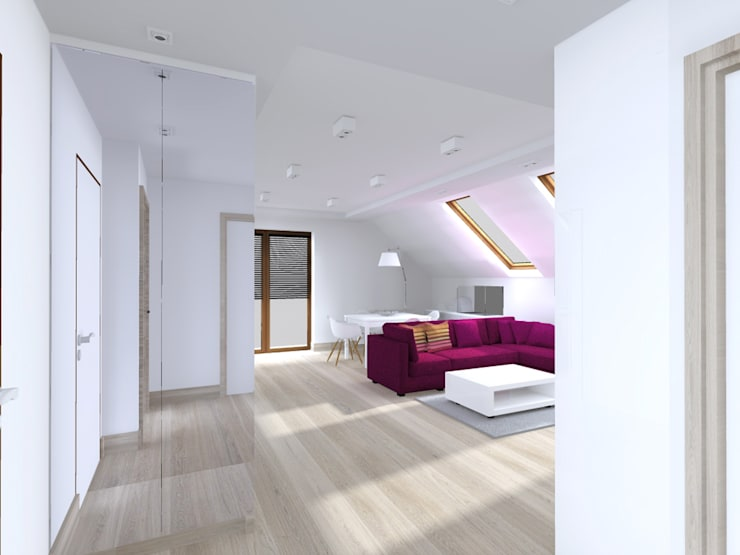 Projekt wnętrza poddasza 60 m2 pod Krakowem : styl , w kategorii Korytarz, przedpokój zaprojektowany przez Lidia Sarad