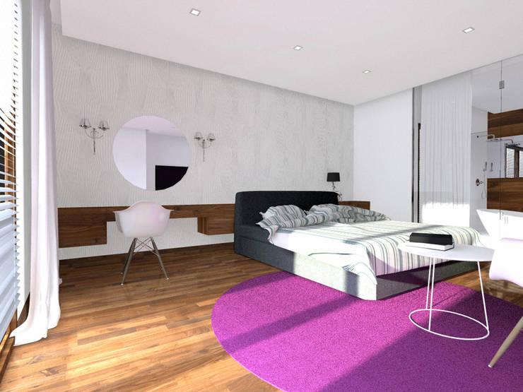 Projekt wnętrza domu 200 m2 : styl , w kategorii Sypialnia zaprojektowany przez Lidia Sarad