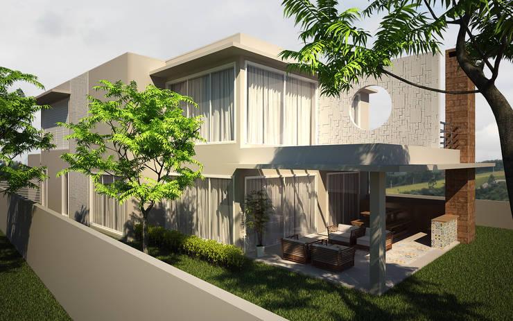 Fachada lateral e fundos: Casas  por Flávia Brandão - arquitetura, interiores e obras,