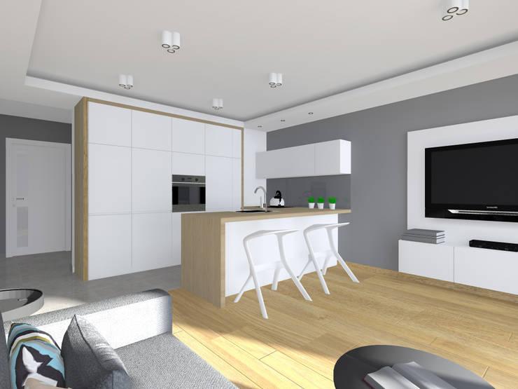 Projekt wnętrza mieszkania 70 m2 w Krakowie: styl , w kategorii Kuchnia zaprojektowany przez Lidia Sarad