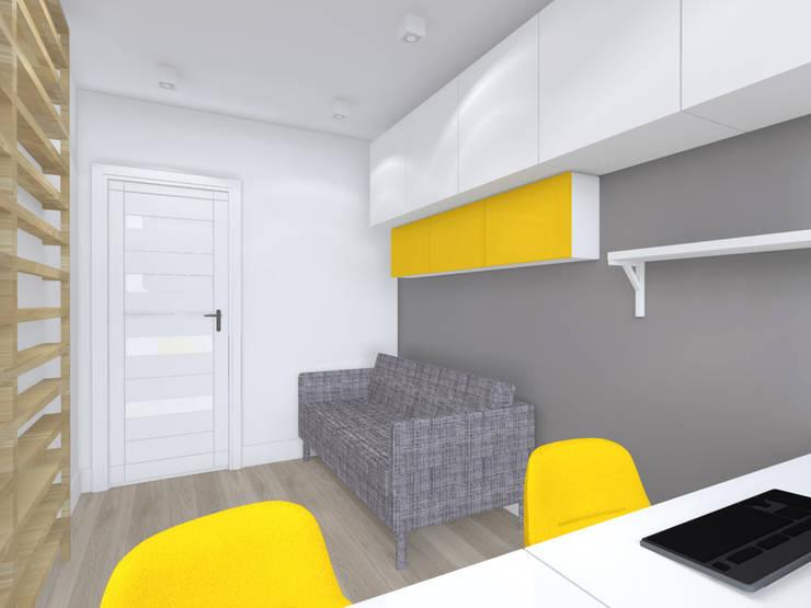 Projekt wnętrza mieszkania 70 m2 w Krakowie: styl , w kategorii Domowe biuro i gabinet zaprojektowany przez Lidia Sarad