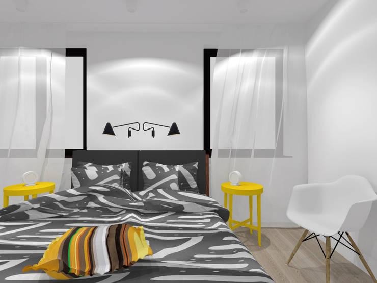 Projekt wnętrza mieszkania 70 m2 w Krakowie: styl , w kategorii Sypialnia zaprojektowany przez Lidia Sarad