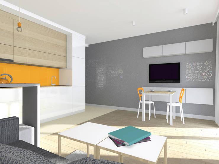 Projekt wnętrza mieszkania 30 m2 w Krakowie: styl , w kategorii Jadalnia zaprojektowany przez Lidia Sarad