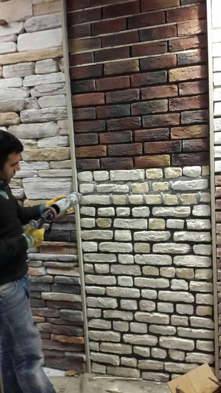 4 Duvar İthal Duvar Kağıtları & Parke – Duvar Kağıdı Uygulamaları:  tarz Ofis Alanları & Mağazalar