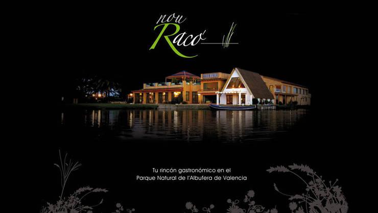Visión general del complejo por la noche: Locales gastronómicos de estilo  de Duart-Vila Arquitectes S.L.P.