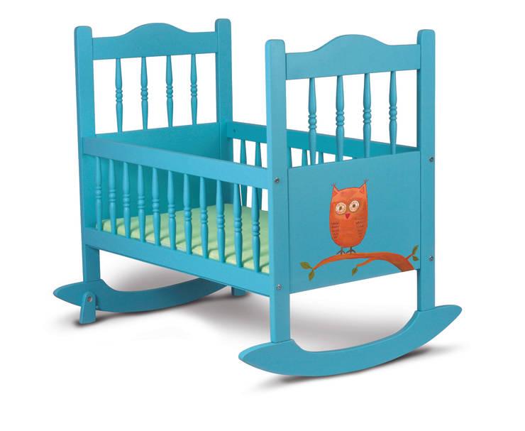 turkusowa kołyska z sową: styl , w kategorii Pokój dziecięcy zaprojektowany przez lululaj,