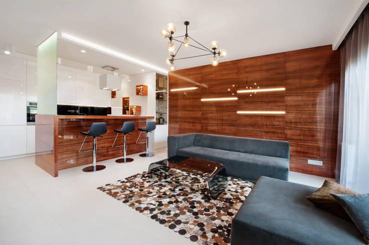 Apartament w Bielawie: styl , w kategorii Salon zaprojektowany przez Finchstudio,Minimalistyczny