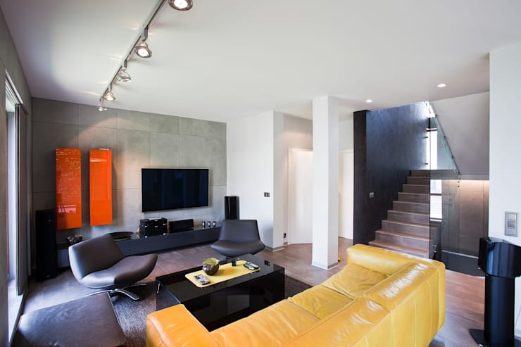 Aranżacja wnętrz domu jednorodzinnego, Gliwice: styl , w kategorii Salon zaprojektowany przez modero architekci