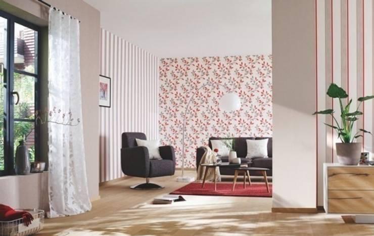 4 Duvar İthal Duvar Kağıtları & Parke – Uygulamalar:  tarz Oturma Odası