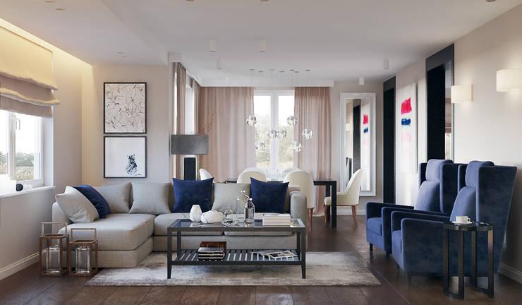 Dom w Brzegu Dolnym: styl , w kategorii Salon zaprojektowany przez Finchstudio