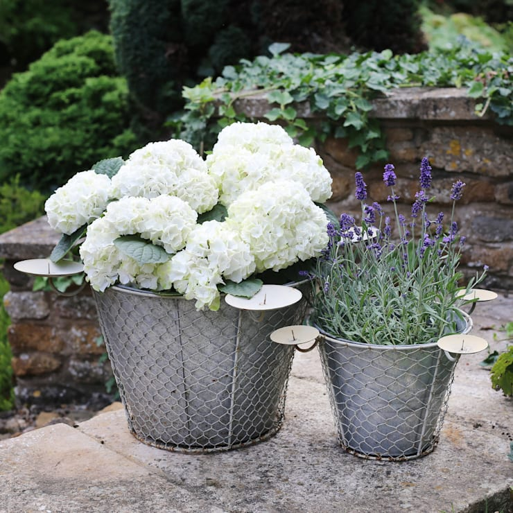 Zinc Planter with Candle Holders:  Garden  by ELLA JAMES