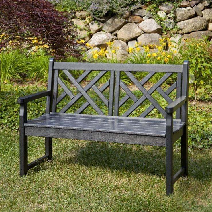 CASA BRUNO Chippendale Banco de Jardín, 122 cm, HDPE poly-madera, negro: Jardín de estilo  de Casa Bruno American Home Decor